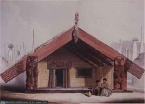 Te Rangihaeata's meeting house. by G.F. Angas, 1844